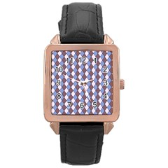 Allover Graphic Blue Brown Rose Gold Leather Watch