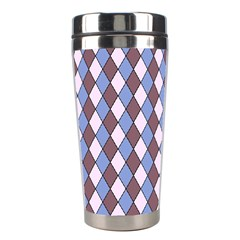 Allover Graphic Blue Brown Stainless Steel Travel Tumbler