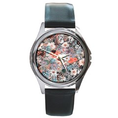 Spring Flowers Round Leather Watch (silver Rim)