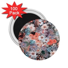 Spring Flowers 2 25  Button Magnet (100 Pack)