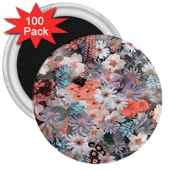 Spring Flowers 3  Button Magnet (100 pack)