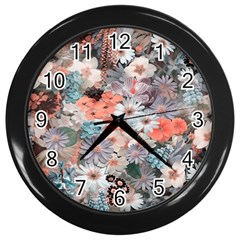 Spring Flowers Wall Clock (Black)