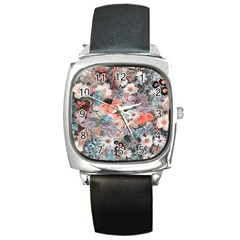 Spring Flowers Square Leather Watch