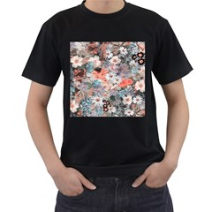 Spring Flowers Mens' Two Sided T-shirt (Black)
