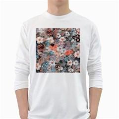 Spring Flowers Mens' Long Sleeve T Shirt (white)