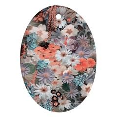 Spring Flowers Oval Ornament (two Sides)