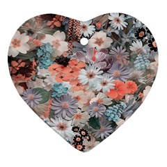 Spring Flowers Heart Ornament (Two Sides)