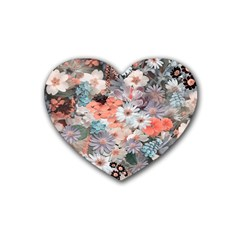 Spring Flowers Drink Coasters 4 Pack (Heart)