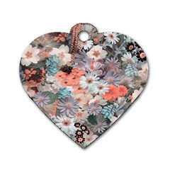 Spring Flowers Dog Tag Heart (One Sided)