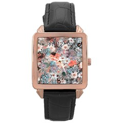 Spring Flowers Rose Gold Leather Watch
