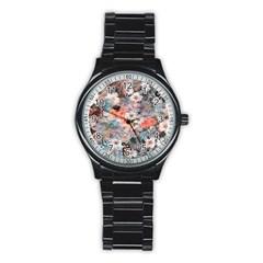 Spring Flowers Sport Metal Watch (Black)