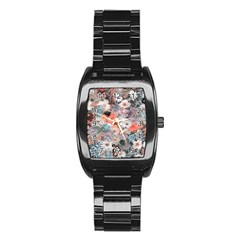 Spring Flowers Stainless Steel Barrel Watch
