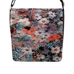 Spring Flowers Flap Closure Messenger Bag (large)
