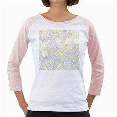 Spring Flowers Soft Women s Long Cap Sleeve T-Shirt (White)