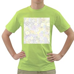 Spring Flowers Soft Mens  T-shirt (Green)