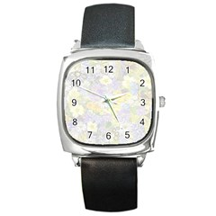Spring Flowers Soft Square Leather Watch