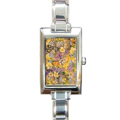 Spring Flowers Effect Rectangular Italian Charm Watch
