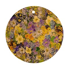 Spring Flowers Effect Round Ornament