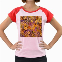 Spring Flowers Effect Women s Cap Sleeve T-Shirt (Colored)