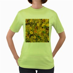 Spring Flowers Effect Womens  T-shirt (Green)