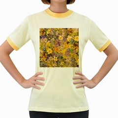 Spring Flowers Effect Womens  Ringer T Shirt (colored)