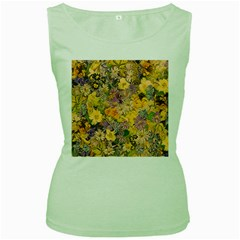 Spring Flowers Effect Womens  Tank Top (Green)