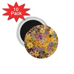 Spring Flowers Effect 1 75  Button Magnet (10 Pack)
