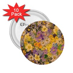 Spring Flowers Effect 2 25  Button (10 Pack)