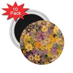 Spring Flowers Effect 2.25  Button Magnet (10 pack)