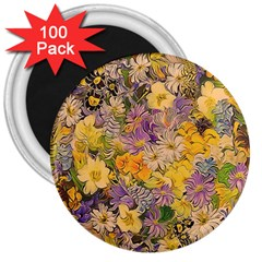 Spring Flowers Effect 3  Button Magnet (100 pack)