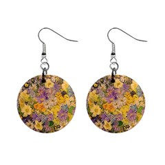 Spring Flowers Effect Mini Button Earrings