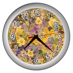 Spring Flowers Effect Wall Clock (Silver)