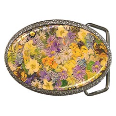 Spring Flowers Effect Belt Buckle (Oval)