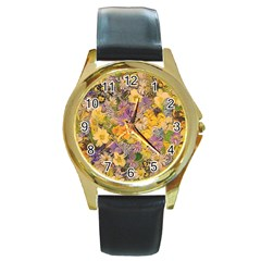 Spring Flowers Effect Round Leather Watch (Gold Rim)