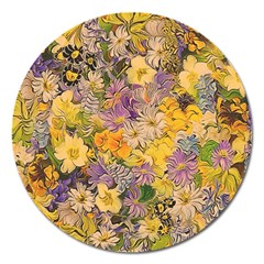 Spring Flowers Effect Magnet 5  (Round)