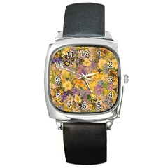 Spring Flowers Effect Square Leather Watch