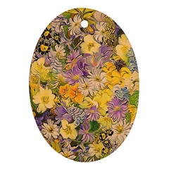 Spring Flowers Effect Oval Ornament (Two Sides)