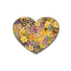 Spring Flowers Effect Drink Coasters 4 Pack (Heart)