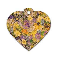 Spring Flowers Effect Dog Tag Heart (two Sided)