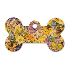 Spring Flowers Effect Dog Tag Bone (two Sided)