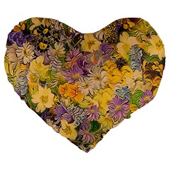 Spring Flowers Effect 19  Premium Heart Shape Cushion