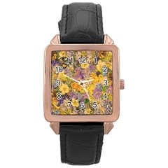Spring Flowers Effect Rose Gold Leather Watch