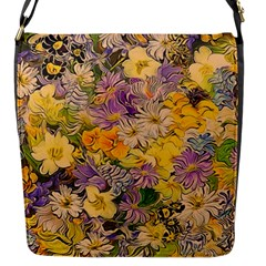 Spring Flowers Effect Flap Closure Messenger Bag (Small)