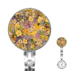 Spring Flowers Effect Stainless Steel Nurses Watch