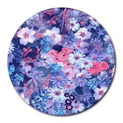 Spring Flowers Blue 8  Mouse Pad (Round)
