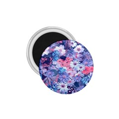 Spring Flowers Blue 1.75  Button Magnet