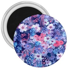 Spring Flowers Blue 3  Button Magnet