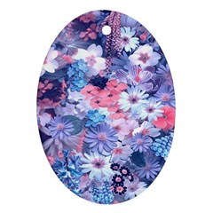 Spring Flowers Blue Oval Ornament