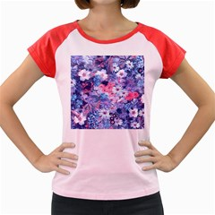 Spring Flowers Blue Women s Cap Sleeve T Shirt (colored)