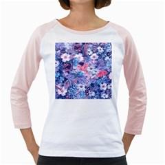 Spring Flowers Blue Women s Long Cap Sleeve T Shirt (white)